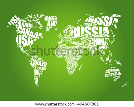 World map typography word cloud concept stock vector hd royalty world map in typography word cloud concept names of countries gumiabroncs Choice Image