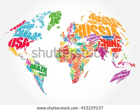 World map typography word cloud concept stock vector 453229237 world map typography word cloud concept stock vector 453229237 shutterstock gumiabroncs Choice Image