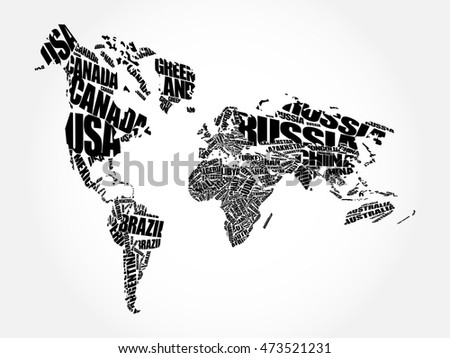 World map typography word cloud concept vectores en stock 473521231 world map in typography word cloud concept names of countries gumiabroncs Choice Image