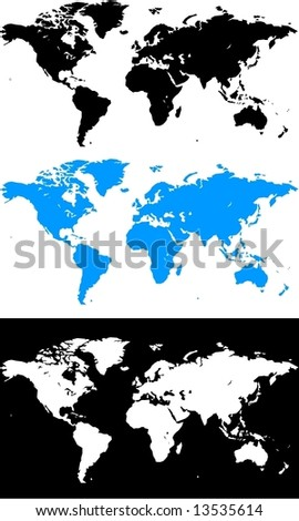 World Map in Vector Design - stock vector