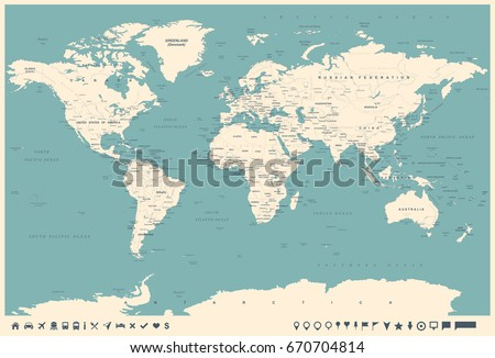 World map vintage style high detailed stock vector 670704814 world map in vintage style high detailed worldmap illustration gumiabroncs Gallery