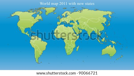 World Map 2011 including new states like South Sudan and Kosovo. Fully editable vector, data are in layers.