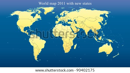 World Map 2011 including new states like South Sudan and Kosovo. Fully editable vector, data are in layers. Dark blue background. - stock vector
