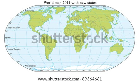 World Map 2011 including new states like South Sudan. Fully editable vector, data are in layers. - stock vector