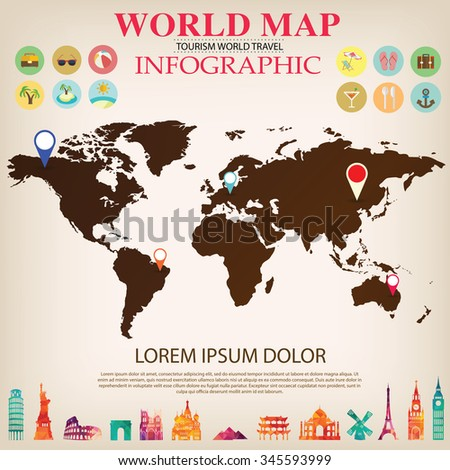 Animals world map vector illustration preschool stock vector world map info graphic vector gumiabroncs Choice Image