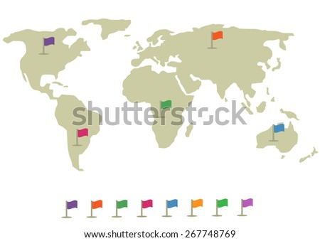 World map infographic. Colorful flag set. Vector illustration. - stock vector