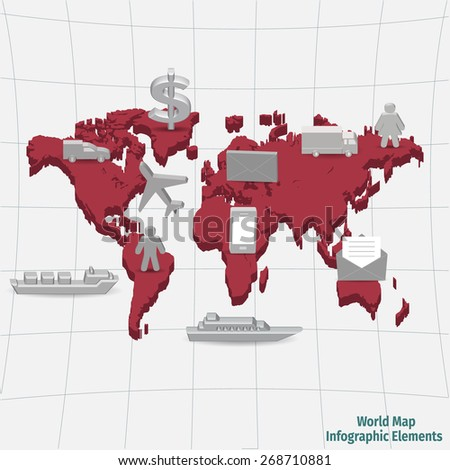 World map infographic elements, vector illustration - stock vector