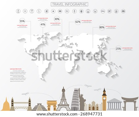 world map infographic for traveling, modern style. items are included white map with shadow, world famous landmark and icons. your data can be edited - stock vector