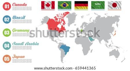 World map infographic slide presentation canada vectores en stock world map infographic slide presentation canada brazil germany saudi arabia gumiabroncs Choice Image