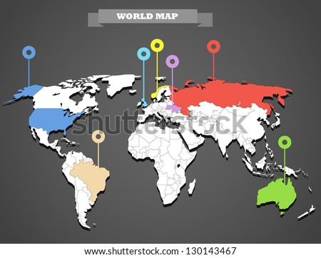 World map infographic template all countries stock vector 130143467 world map infographic template all countries are selectable gumiabroncs Gallery