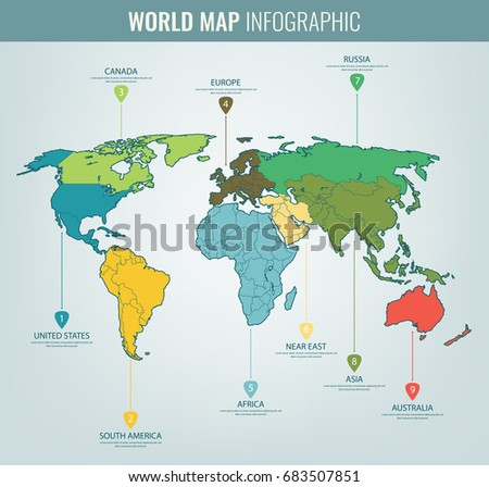 World Map Flat Styleearthgloberoute Planning Asiaafricanorth Stock - World map us and russia
