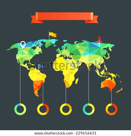 World map infographic template. Design elements - stock vector