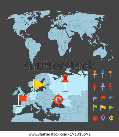 World map infographic template with icons set - stock vector