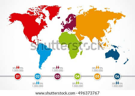 World map infographic 6 continent colors vector de stock496373767 world map infographic with 6 continent in colors and timeline population vector illustration gumiabroncs Image collections