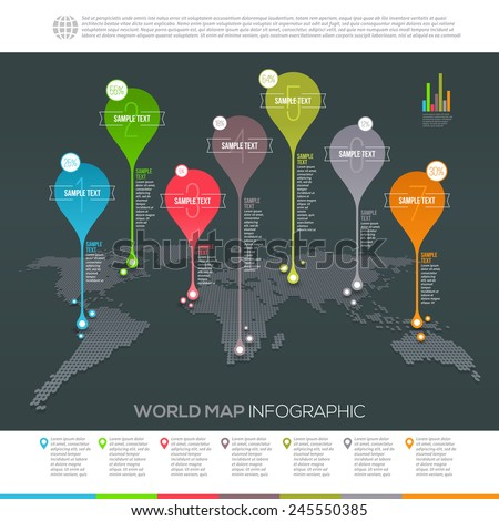 World map infographic with map pointers - Template vector design - stock vector