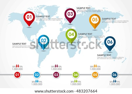 world map infographic population diagram vector stock vector 2018 483207664 shutterstock