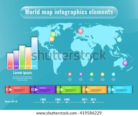 World map infographics elements. Business concept for presentation, brochure etc. Stock vector. - stock vector