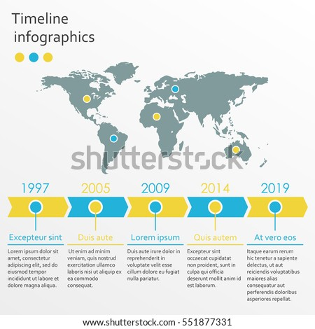 World map infographics template timeline infographic stock vector world map infographics template timeline infographic with 5 steps and arrows vector illustration gumiabroncs Gallery