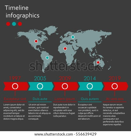 World map infographics template. Timeline infographic with 5 steps and arrows. Vector illustration.