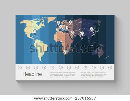 World map infographics with clear illustration of time zones. - stock vector