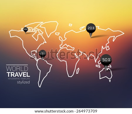 World map infographics with points and destinations in outline style - stock vector