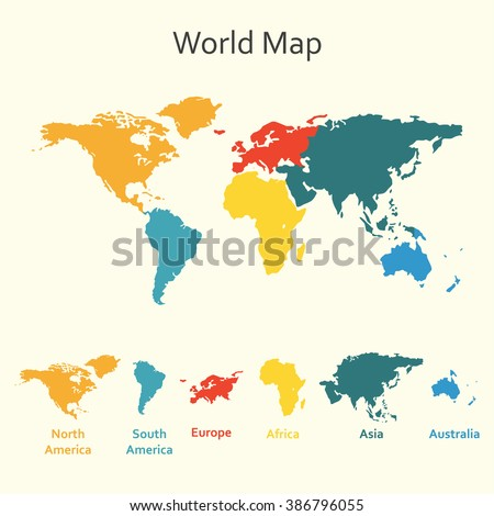 World map infogrphics. Vector design template of world map with continents. - stock vector