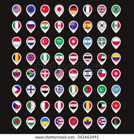 world map international flags points set - stock vector