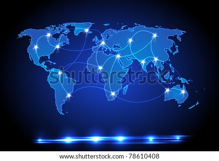World map light design - stock vector