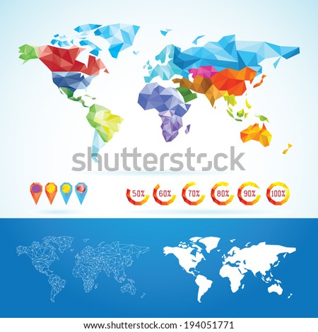 World Map Low Poly - stock vector