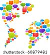 World map made from thought bubbles - stock vector