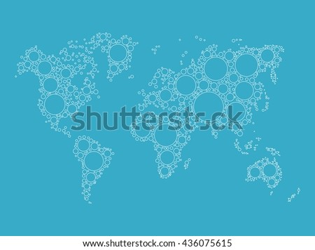 World map made of blue bubbles