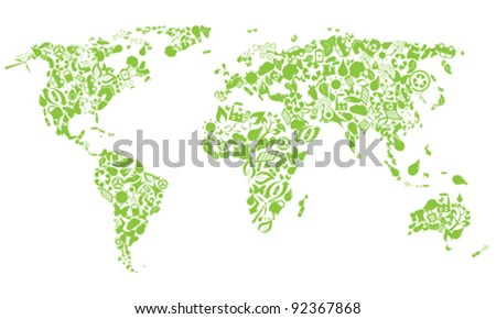 World map made of eco icons - stock vector
