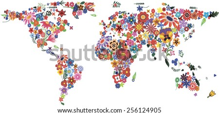 World map made of plenty colorful flowers - stock vector