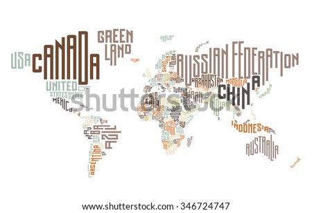 World map made typographic country names stock vector 346724747 world map made of typographic country names vector illustration gumiabroncs Images