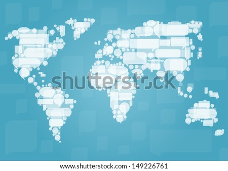 World map made of white cloud speech bubbles in concept illustration background vector