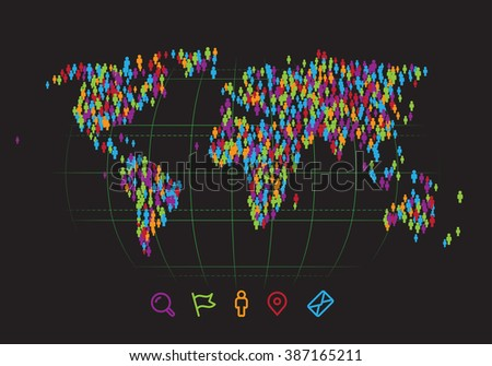 World map made out of simple people figures. Vector illustration - stock vector