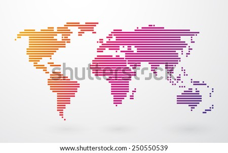 world map made up of colored stripes on a light background - stock vector