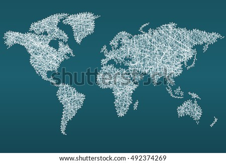 World map made with threads, concept background