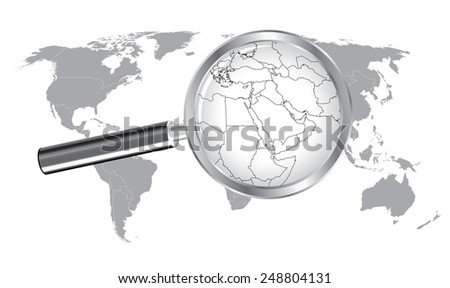 World Map Middle East Wired Continent with Magnifier Glass - stock vector