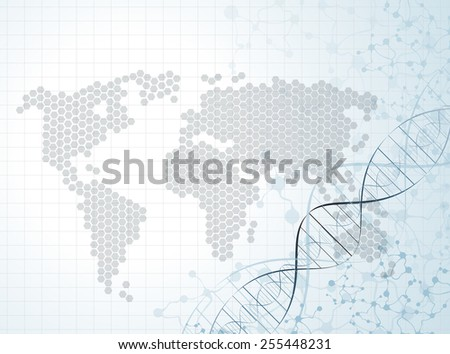 world map molecular structures pattern vector - stock vector