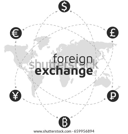 World Map Money And Bitcoin Icon Abstract Sign Currency Exchange Flat Design Illustration