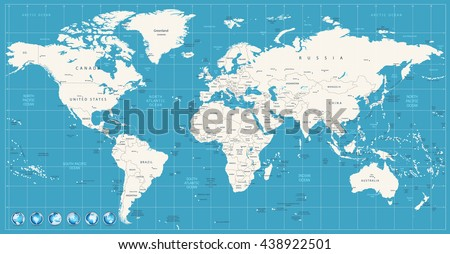 World map navy blue colors and glossy style globes. All elements are separated in editable layers clearly labeled. - stock vector