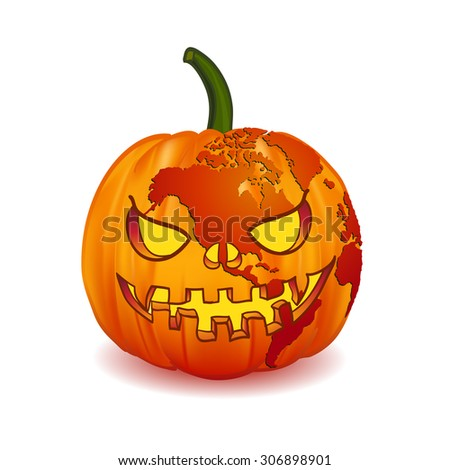 World map North America on Scary Jack O Lantern Halloween pumpkin with candle light inside. for web and mobile app, illustration, vector, isolated on white background - stock vector