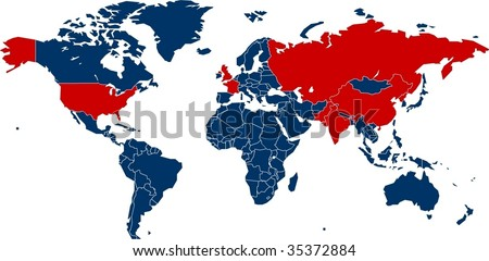 World map of all countries with nuclear weapons - stock vector