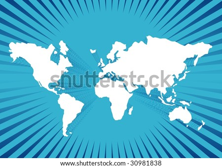 World map of blue illustration