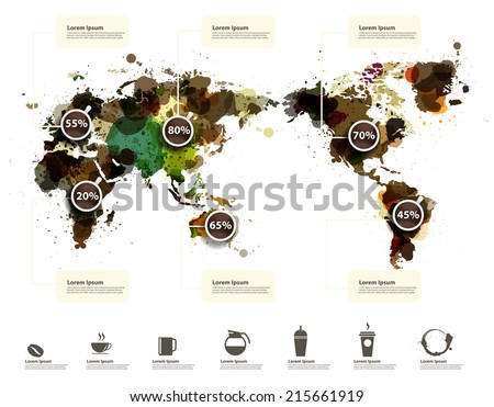 World Map of coffee ink splatter, With coffee icons abstract infographic workflow layout, diagram, step up options, Vector illustration template design - stock vector
