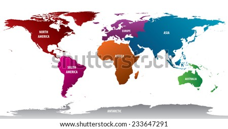 World Map Of Continents With Bold Color