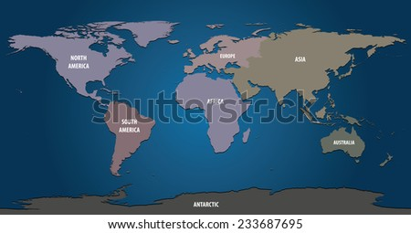 World Map of Continents With Pastel Color  - stock vector