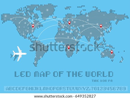 World map dots led uppercase english stock vector 649352827 world map of dots led uppercase english alphabet number vector illustration gumiabroncs Image collections