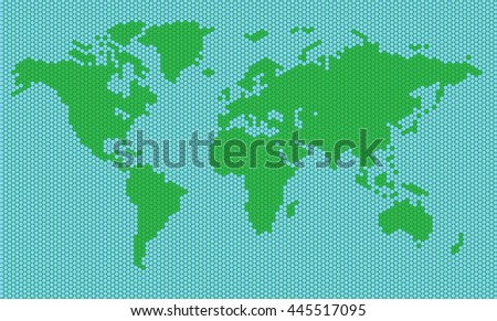 World map of green and blue hexahedrons